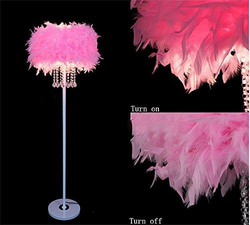 LightSei- Feder Fußboden Lampe E27 LED Kristallmetall modernes dekoratives Geschenk Wohnzimmer Hochzeits Raum Schlafzimmer Nachttisch Fußboden Licht ( Farbe : Pink ) - Auf Eine Feder Stehlampe