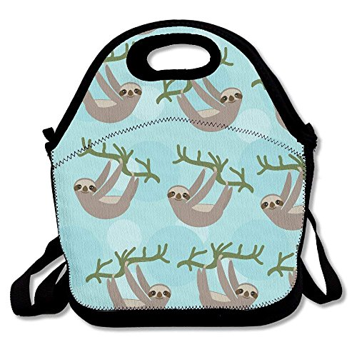 Three Toed Sloth On Green Branch Insulated Lunch Bag - Neoprene Lunch Bag - Large Reusable Lunch Tote Bags for Women, Teens, Girls, Kids, Baby, Adults Portable Carry