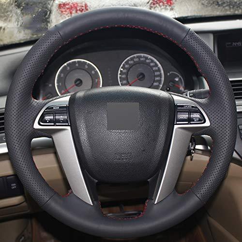 ZYTB Für schwarz DIY handgenähte Auto lenkradabdeckung für Honda Accord 8 2008-2013,Red Thread
