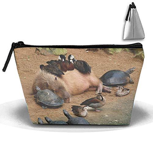 Tier Capybara Ente Schildkröte Malerei Reise Kosmetiktasche Tragbare Make-Up Tasche Trapezoid Strorege Tasche -