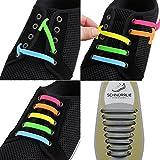 SCHNÜRRLIE Elastische Silikon Schnürsenkel Kinder und Erwachsene - perfekter Schnürbänder Ersatz für Sneaker (16 Stück Grau Silber)