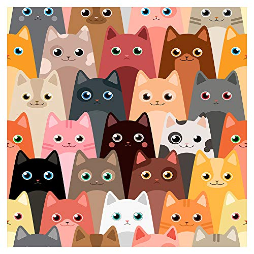 murando - Tapete selbstklebend 10m Wandtattoo dekorative Möbelfolie Dekorfolie Fotofolie Panel Wandaufkleber Wandposter Wandsticker - für Kinder Katze Kinderzimmer e-B-0028-j-a