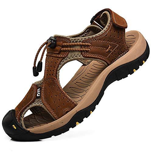Rismart Hombre Punta Cerrado Gancho y Bucle Al Aire Libre Excursionismo Cuero Zapatos Sandalias y Chanclas SN1505(Marrón,47 EU)
