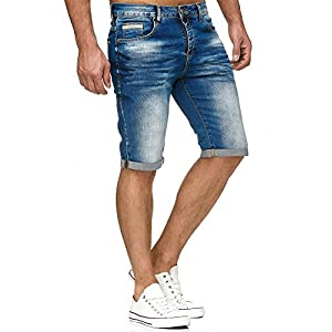 Red Bridge Herren Jeans Shorts Kurze Hose Denim Bermuda Stretch Capri Basic Blau Grau oder Weiß