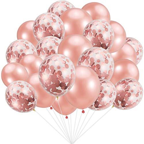 Rose Gold Ballons (30 Stück) + Rose Gold Konfetti Ballons (30 Stück), insgesamt 60 Stück 12 Zoll Party Latex Ballon für Geburtstag Hochzeit Verlobung Party Braut Baby Shower Party Dekoration