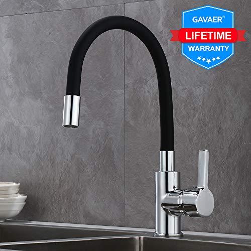 GAVAER Miscelatore Cucina Rubinetto per Cucina Girevole 360°con Curvabile Silicone Tubo Ceramic Valve Lega di Zinco Monocomando Processo cromato.