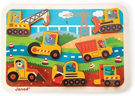 Janod - Construction Wooden Chunky Puzzle - 7 Pieces by Janod | Soldes