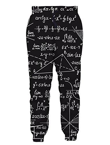 Leapparel Unisex Lustige Mathe Formel Print Galaxy Elastische Taille Trainingsanzug Sweatpants Sport Gym Jogger Hose L