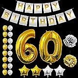 Festa di Compleanno Palloncini Set - Foil Lattice Palloncini e Happy Birthday striscione Decorazioni in Oro & Argento - Decorazione Accessori Adatta per Tutti gli Adulti (Age 60)