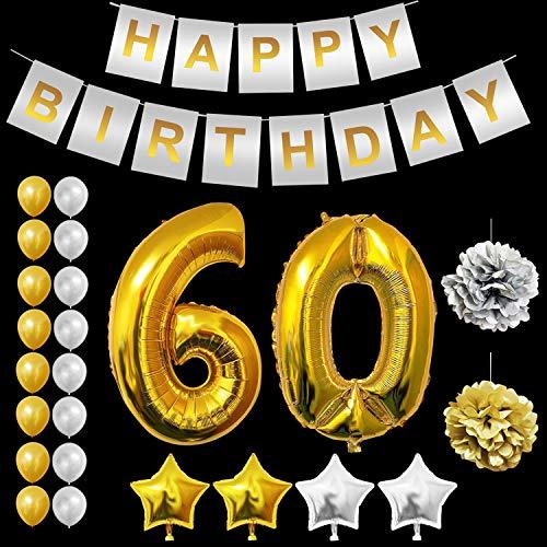 BELLE VOUS Alles Gute zum Geburtstag Folienballons Gold & Silber Party Dekoration Zubehör Set (Age 60) (60. Geburtstag Dekoration)