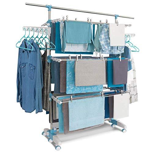 IDMarket - Séchoir modulable Blanc/Bleu Grande capacité + 30 Accessoires