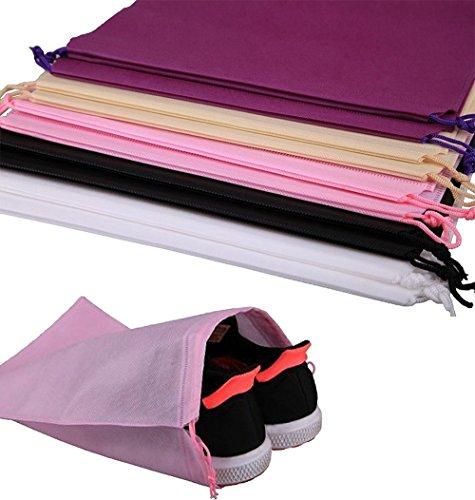 10 Stück Schuhbeutel staubdichten Schuhtasche mit Zugband,DIKETE Reise Schuh Taschen Kordelzug Schuh sack - 40x30cm (Schuh-pflege-kits)
