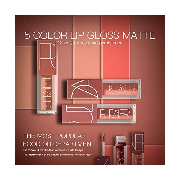 5 Colors Matte Lipstick Set, FOXTSPORT Super Stay Pintalabios Mate Larga Duracion Labial Permanente Maquillaje de…