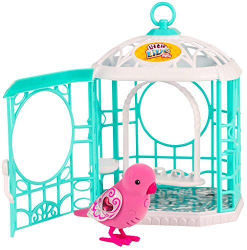 Little Live Pets - Pajarito parlanchin Ruby Belle con jaula, serie 5, color rosa (Famosa 700013661)