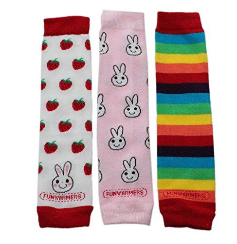 Baby Kleinkind Mädchen Beinstulpen Pack von 3–Bunny Strawberry Rainbow Stripes