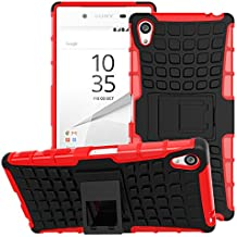 Sony Xperia Z5 Premium 2015 Phone Case - MoKo Heavy Duty Rugged Dual Layer Armor with Kickstand Protective Cover for Sony Xperia Z5 Premium 5.5 Inch Smartphone 2015 Edition, RED