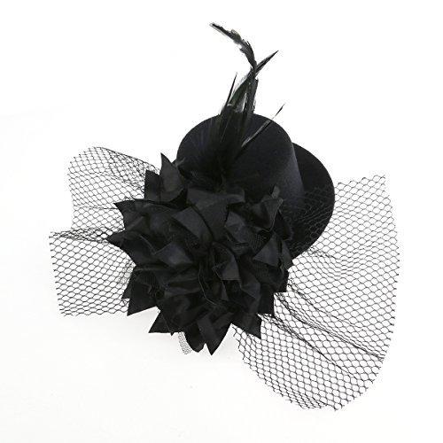 Tinksky Fleur Decor cheveux Clip plume Fascinator Burlesque Punk Mini chapeau haut pour femme (Noir)