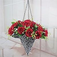 Fiore Di Emulazione Fiori Artificiali 21 Rose Cesto Fiorito Kit Parete Rose Fiore Home Decor Fiore,D