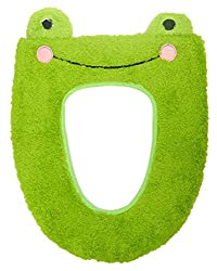 Chic*mall Toilet Seat Cover Bathroom Warmer Plush Soft Round Toilet Washable Seat Lid Cover Pads (Frog)