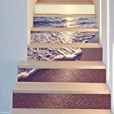 QQA 6PCS Treppe Mauer Aufkleber Dekorativ Wasserdicht 3D Selbstklebend Wasserfall Abziehbilder DIY Kunst Wandgemälde Entfernbar Treppe Vinyl
