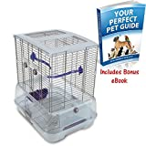Hagen Vision Bird Cage for Small Birds - Small, Single Height Birds Cages For Budgies, Canaries, Lovebirds and Finches w/ Extra Deep Tray, Including Accessories By eCommerce Excellence