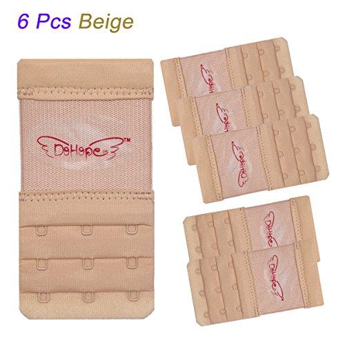 DoHope Bra Extender BH-Verlängerung für BHs mit 3 Haken Damen BH-Erweiterung flexible (weiss, schwarz, nackt) (6 Stücke nackt) (Mutterschafts-bh Aus Mikrofaser)
