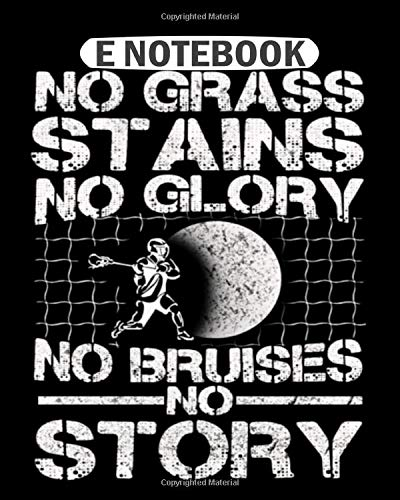 Notebook: hockey no grass stains no glory no bruises  College Ruled - 50 sheets, 100 pages - 8 x 10 inches