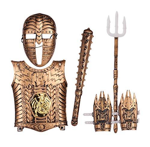 Brustplatte Rüstung Kostüm - Lvbeis Kind Ritter Rüstung Ritterkostüm-Helm,Rechen,Armor Handschützer, Brustplatte Kinder Krieger Cosplay