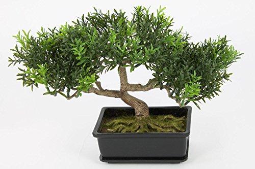 Bonsaï artificiel en pot, 100 rameaux de feuilles de thé, 25 cm - bonsai synthétique / bonsai déco - artplants