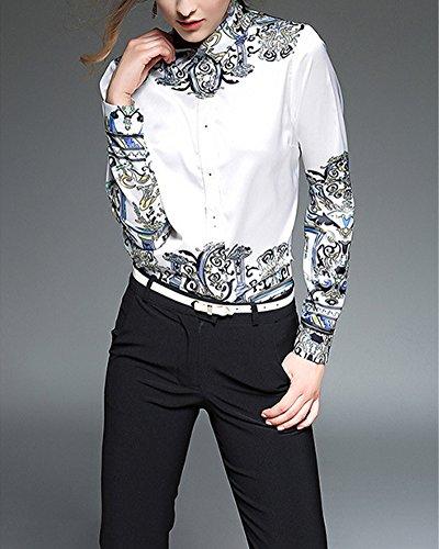 Minces Occasionnels Des Femmes, Mode éLégant Impression Chemisier à Manches Longues Hauts Blouse Shirt Blanc