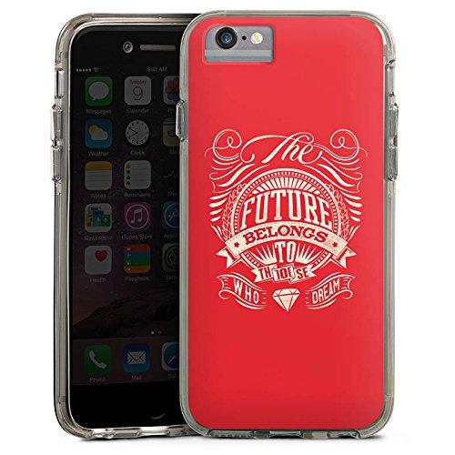 Apple iPhone 6s Bumper Hülle Bumper Case Glitzer Hülle Zukunft Future Traum Bumper Case transparent grau