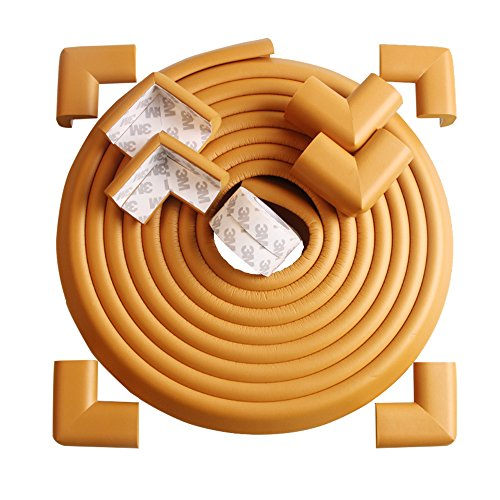TRITINA Corner und Edge Guards - 14ft (4,3m) [13ft Edge Kissen + 8 Eckkissen] Premium Kindersicherung, Kindersicherung, Haussicherheit 1. Mamami (Beige) (Weiße Frühstück Kissen)