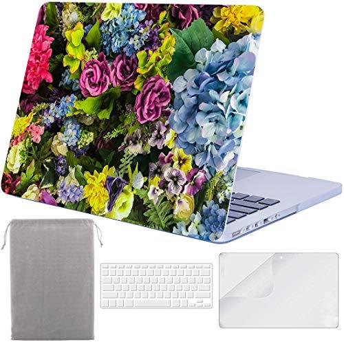 Sykiila Schutzhülle für MacBook Pro 13 Zoll mit Retina Display (für MacBook Modell: A1425 / A1502) Hardcover 4 in 1 mit HD Displayschutzfolie + TPU Tastatur + Sleeve - Blumen -