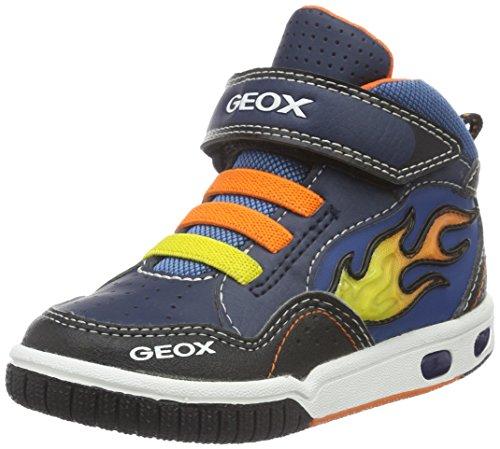 Geox Jungen JR Gregg A Hohe Sneaker, Blau (Navy/ORANGEC0659), 32 EU (Patent-high-top-sneaker)