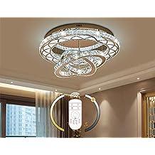 LED Decken-Leuchte Spiegel-Rand Glas-Kristalle Esszimmer Küchen Bad Lüster Lampe