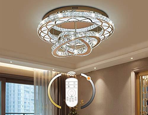 LED cristal plafonnier lampe de salon anneaux modernes lampe de plafond design dimmable avec télécommande chambre d'étude salle de pépinière lustre Éclairage de plafond 108W Ø 60CM