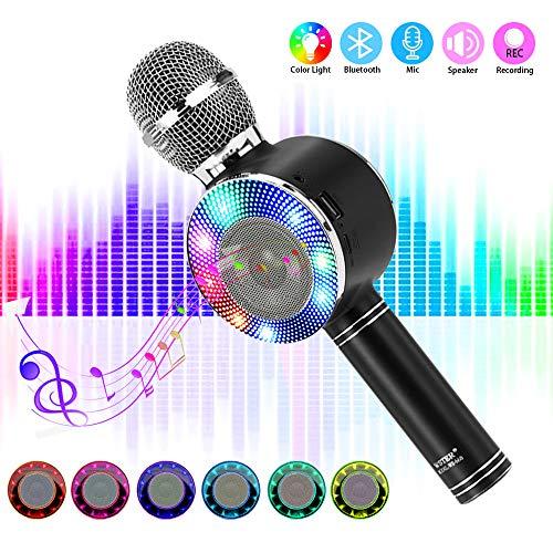 Bluetooth Karaoke Mikrofon, SaponinTree Drahtlose Karaoke Mikrofon Player mit Aufnahme, Dynamisches Licht Mikrofon für Erwachsene und Kinder, Kompatibel mit Android IOS PC (Schwarz)