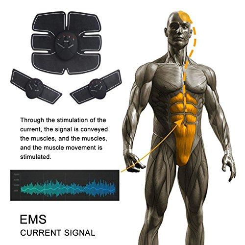 LoiStu Calentador Abdominales Unisex, Smart Cinturón de Electroestimulación Abdominal Masaje Muscular Músculo Abdominal inalámbrico para tonifier, Negro
