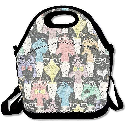 Große und dicke Neopren-Lunchtasche mit süßem Katzen-Motiv, isoliert, warm, mit Schultergurt, für Damen, Teenager, Mädchen, Kinder, Erwachsene