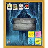 ArtzFolio Monster Holding A Rustic Wood Sign Printed Bulletin Board Notice Pin Board cum Golden Framed Painting 12 x 14.1inch