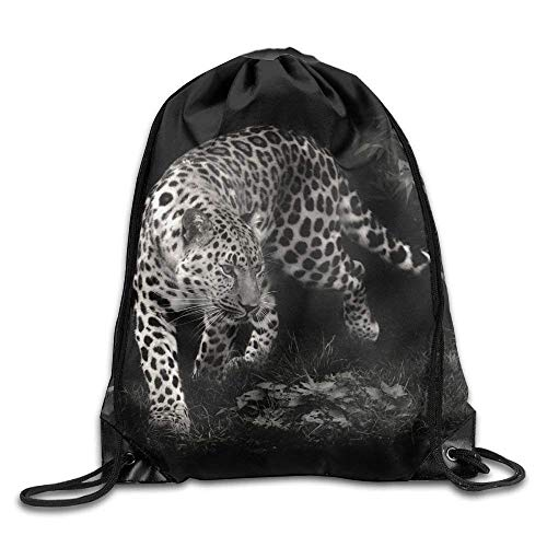 ZHIZIQIU Drawstring Backpack Bags for Men Women Kids Casual Gym Bag - (Black and White Leopard Animal) -