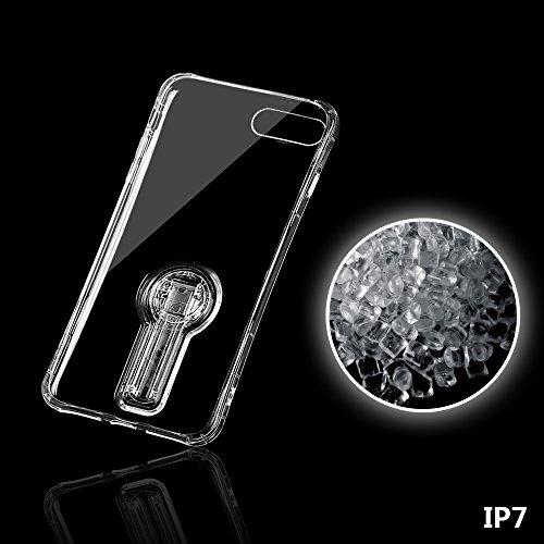 """xhorizon MLK Élégant TPU transparent souple à 360 degrés tournante Cou de couverture de cas pour iPhone 7 [4.7""""] avec film protection d'écran verre trempé 9H Rose d'or +9H Glass Tempered Film"""