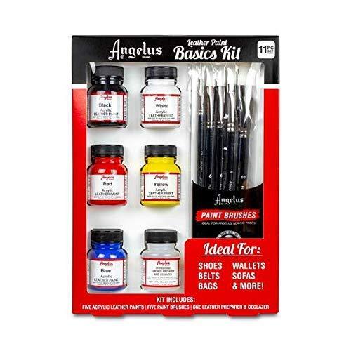 Angelus Starter Set Basics Kit Lederfarbe und Pinseln und Deglazer