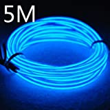Lychee Portable 15 ft 5 m Neon Glowing Strobing Electroluminescent Wire With 3 Modes (El Wire, Blue)