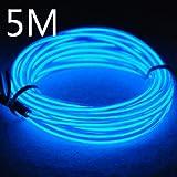 Lychee Flexibel 15 ft 5 m Neon Beleuchtung Draht Lichtschlauch Leuchtschnur El Kabel Wire mit 3 Modis für Partybeleuchtung(Blau)