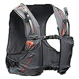 Nathan vaporkrar Hydration Pack Running Vest, inkl. Zwei 12oz Fläschchen mit verlängerter Trinkhalme, kompatibel mit 1.8L Reservoir Blase, Herren, Damen, NS4535, stahlgrau
