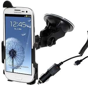 Wicked Chili Kfz-Halterung mit Ladekabel (1000mA, 12V/24V) für Samsung Galaxy S3 i9300 schwarz