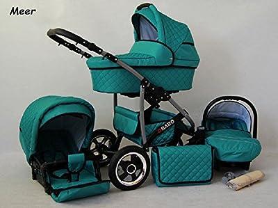 Kinderwagen Qbaro, 3 in 1- Set Wanne Buggy Babyschale Autositz Meer