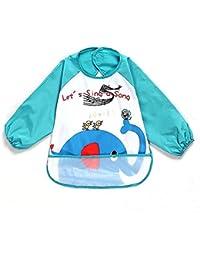 Oral-Q Unisexe Enfant Arts Craft Peinture Tablier Bavoir imperméable pour bébé avec manches et poche, 6-36 mois, un éléphant, bleu Lot de 1