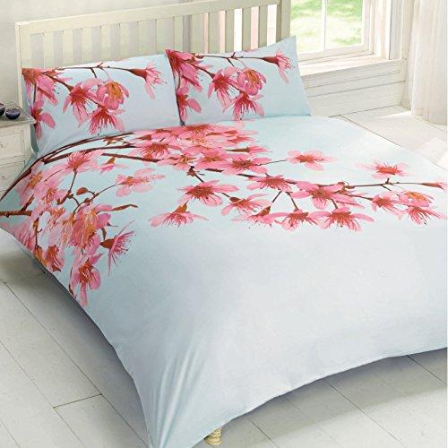 Cherry Blossom Bettwäsche (Oriental Style Cherry Blossom Bettbezug–Floral Foto Print Bettwäsche-Set Pink Eltern, Polycotton, rose, King Size)